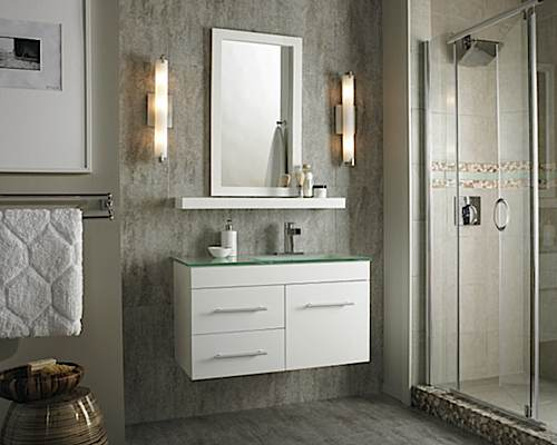 A new floating vanity cabinet, to complement the new gray floor and wall tiles
