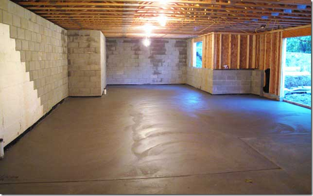 New cement floor